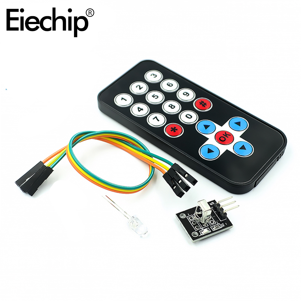 Eiechip 1set For Arduino Infrared IR Wireless Remote Control Module Kits DIY Kit <font><b>HX1838</b></font> For Arduino Raspberry Pi Control Board image