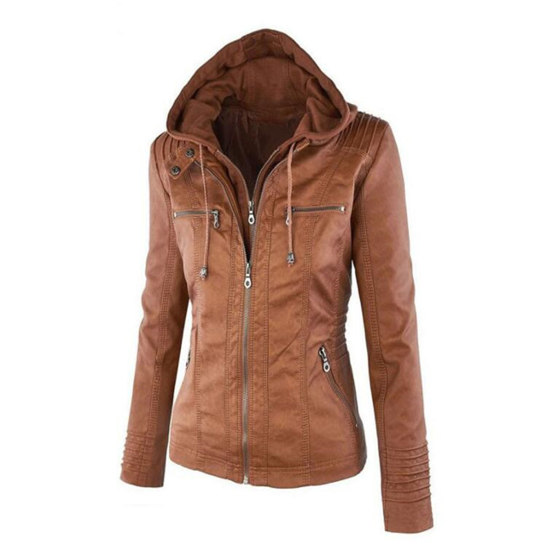 Hot Autumn And Winter Women's Leather Jacket With Zipper Motorcycle Leather Jacket Short Paragraph PU Jacket Large Size Coat 3XL