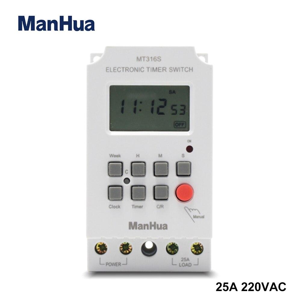 ManHua 220VAC 25A Din Rail temporizador programable MT316S automático multifuncional interruptor de tiempo Digital electrónico 125KHz RFID duplicador copiadora escritor programador escritor ID Card Cloner & key