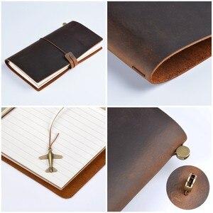 Image 3 - 50 peças/lote passaporte 135x105mm caderno de couro genuíno feito à mão do vintage diário diário sketchbook planejador