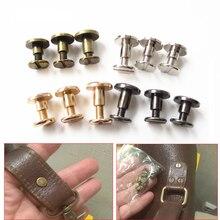 20 piezas caliente 5mm/6,5mm/8mm equipaje de cuero de metal artesanía tornillo sólido remache de uñas doble cabeza curvada cinturón/Correa remaches libro tornillos