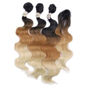 Image 2 - お気に入り実体波の毛 3 バンドルと閉鎖合成 4 個ロット黒ブルー/パープル/グリーン/ブロンド/グレー黒、白の女性