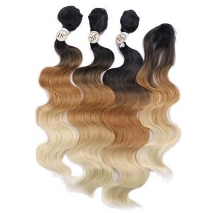 Image 2 - FAVE גוף גל שיער 3 חבילות עם סגירת סינטטי 4Pcs הרבה שחור כחול/סגול/ירוק/בלונד/אפור עבור שחור לבן נשים