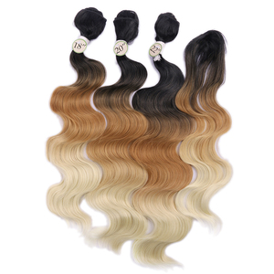 Image 2 - FAVE Body Wave Hair 3 Bundles With Closure Synthetic 4Pcs Lot Black Blue/Purple /Green/Blonde/Grey For Black Women daily Cosplay