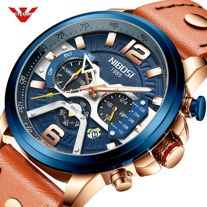 NIBOSI Casual Sport Watch Men Blue Top Brand Luxury Military Leather Wrist Watch Man Clock Fashion Chronograph Relogio Masculino