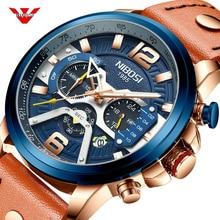 NIBOSI reloj deportivo informal para hombre, parte de arriba de color azul, Cuero militar de pulsera de lujo, cronógrafo, Masculino