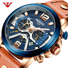 NIBOSI ساعة رياضية غير رسمية الرجال الأزرق العلامة التجارية الفاخرة العسكرية ساعة معصم جلدية رجل ساعة موضة كرونوغراف Relogio Masculino