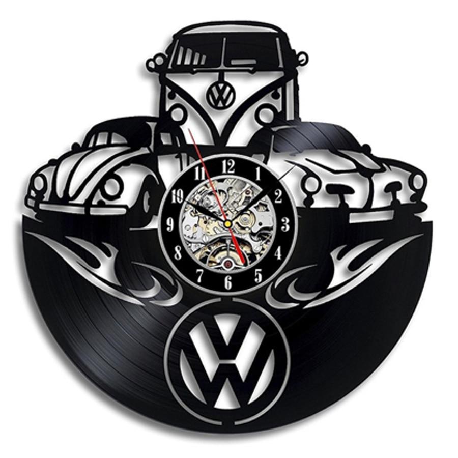 W V Car Logo Vinyl Record Wall Clock Modern Design 3D Decoration W V Car Wall Sign Vintage Vinyl Clock Wall Watch Home Decor