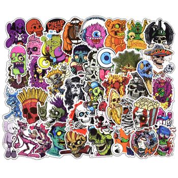 Trolley Case Sticker Not Repeat 50pcs/pack Horror A Creative Skull Waterproof Doodle Cartoon Car Halloween Decor