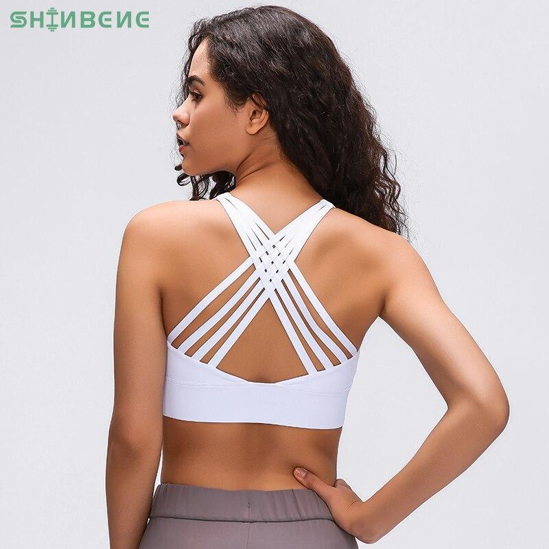 SHINBENE 4-Ply CROSS Strap Plain Running Workout Bras Women Naked-feel Fabric Shockproof Gym Training Yoga Sports Bra Tops XS-XL