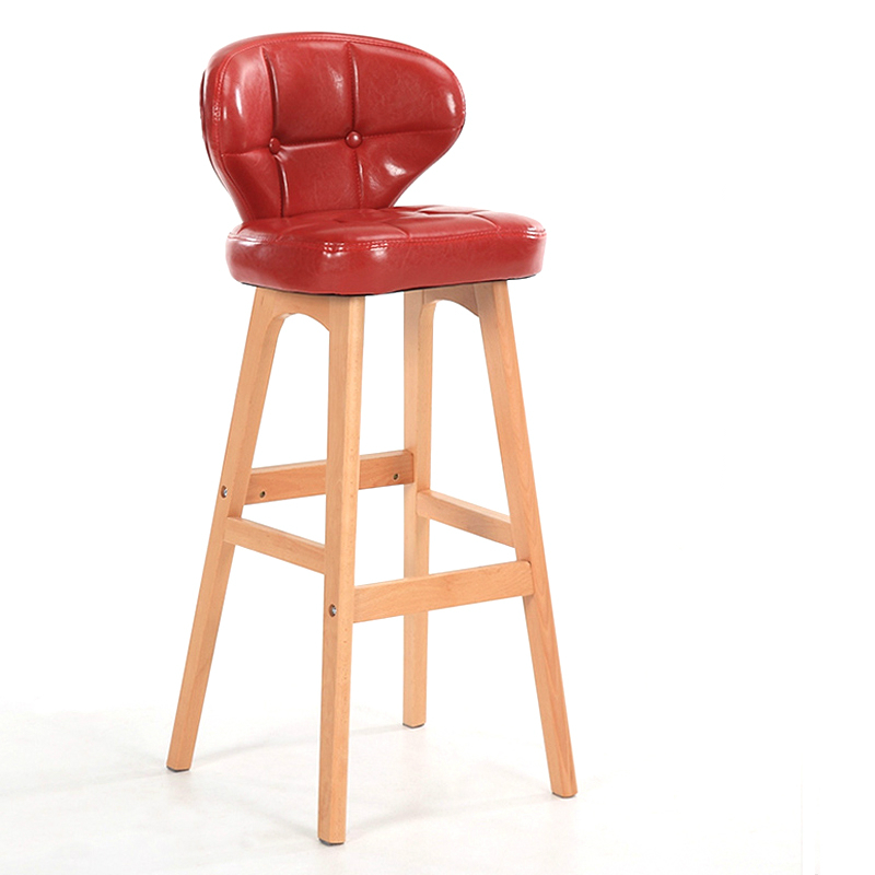 Nordic Rotating Bar Stools Solid Wood High Stools Retro Bar Chair Backrest Simple Bar Stool Home