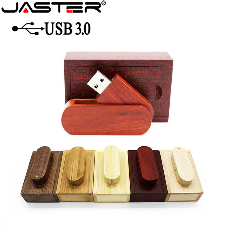 JASTER USB 3.0 LOGO Customized Wooden USB+box USB Flash Drive Pendrive 8GB 16G 32GB 64GB Memory Stick Photography Wedding Gift