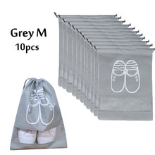 Travel Shoes Organizer Bags for Boots, High Heel, Drawstring Transparent Window Space Saving Shoes Storage Bags 10 Pack