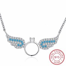 Lekani New Drop Shipping 925 Sterling Silver Necklaces Zircon Angel Wings Necklaces Fine Jewelry Collar Colar De Plata(China)