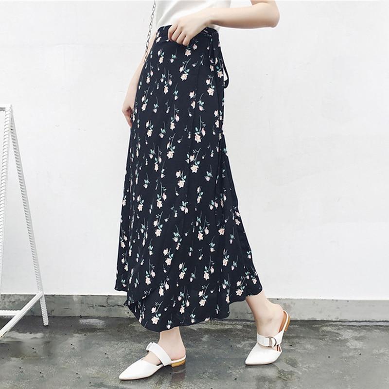 Women Korean Style Long Tie Up Chiffon Floral Skirt Holiday Beach High Waist Chiffon One Size Summer Ankle-length Skirt