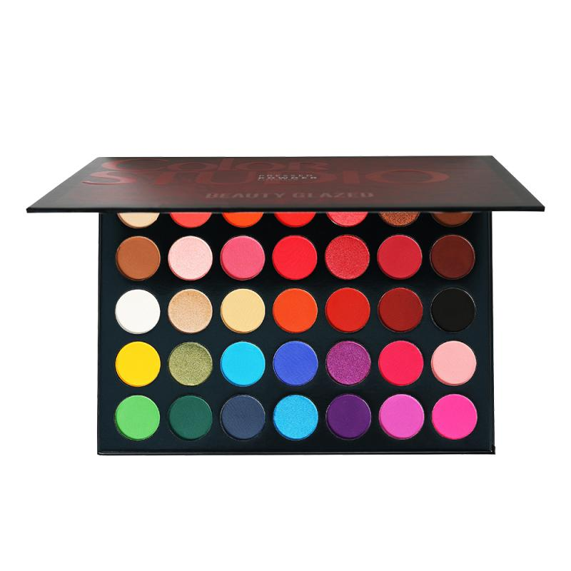Beauty Glazed <font><b>35</b></font> Color Eyeshadow Bellezza Smaltato Tavolozze Impermeabile Cosmetici Pallete Matte Eye shadow <font><b>Kit</b></font> Ombra TSLM1 image