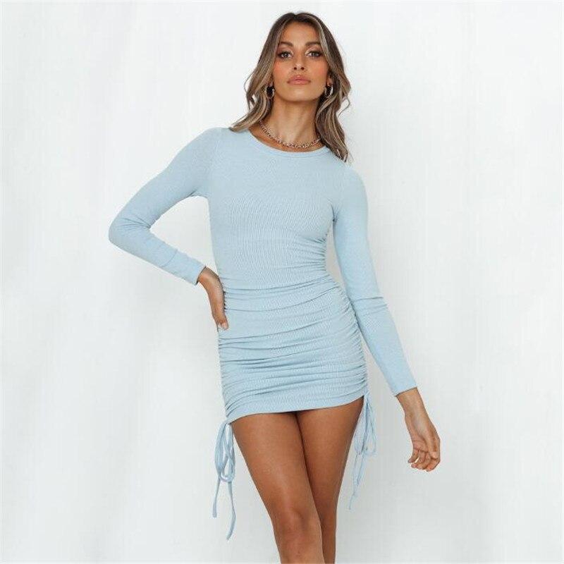 Cotton Ruched Drawstring Sexy Party Dress Women Sleeveless Elastic Mini Dress Vintage Summer Bodycon Club Wear Vestidos 10