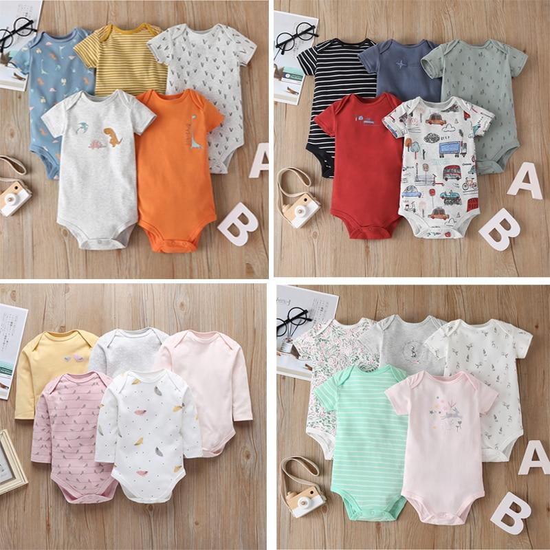 Baby Boy Girl Short Sleeve Romper New Born Clothes 2020 Summer Unisex Newborn Costume 5pcs/pack Clothing Set Cotton 6-24M