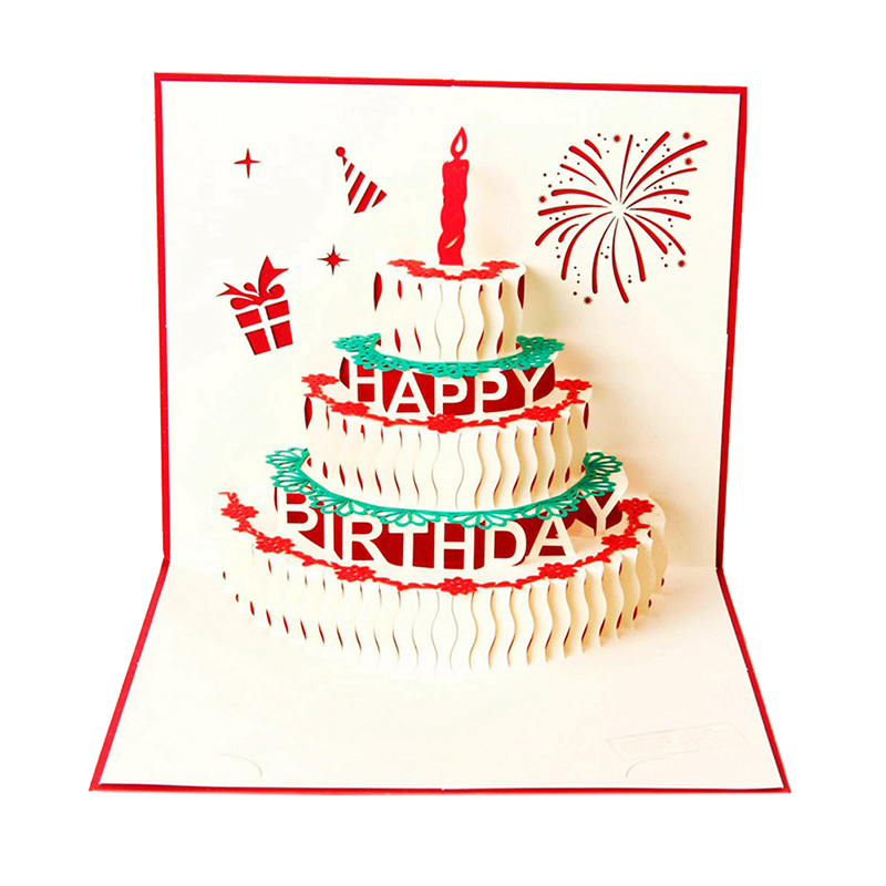 Happy Birthday Postcard Greeting Gift Cards Paper 3D Handmade Pop Up Laser Cut Vintage Cake With Envelope Red