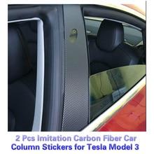 BAFIRE 2 Pcs Imitation Carbon Fiber Car Window Column Stickers for Tesla Model 3 Window Column Protector Exterior Decoration
