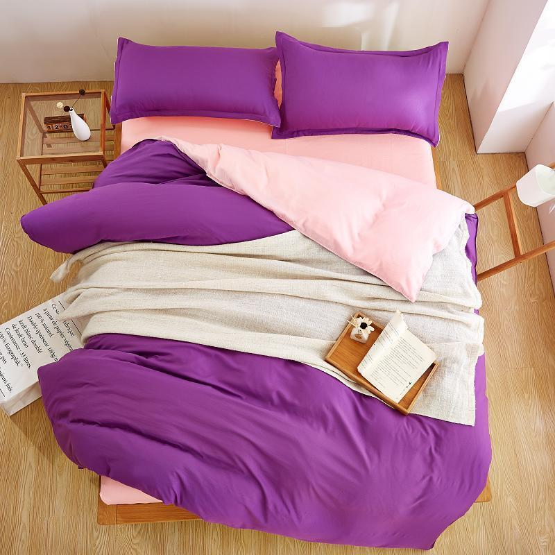 Plain Purple Color Linen Bedding Sets