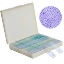 цена 100pcs Prepared Microscope Glass Slides Insecets Plan and Animal Speciments Slides with Plastic Box for Study and Research онлайн в 2017 году