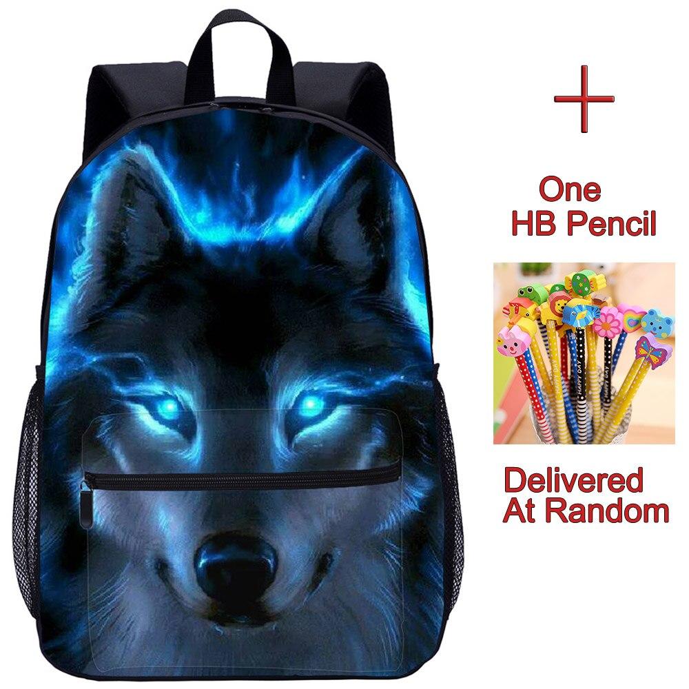 YOIYEN Cool Wolf Printing 3D School Bag Kids Student Schoolbag School Backpack Teenager Boys Girls Children Bookbags