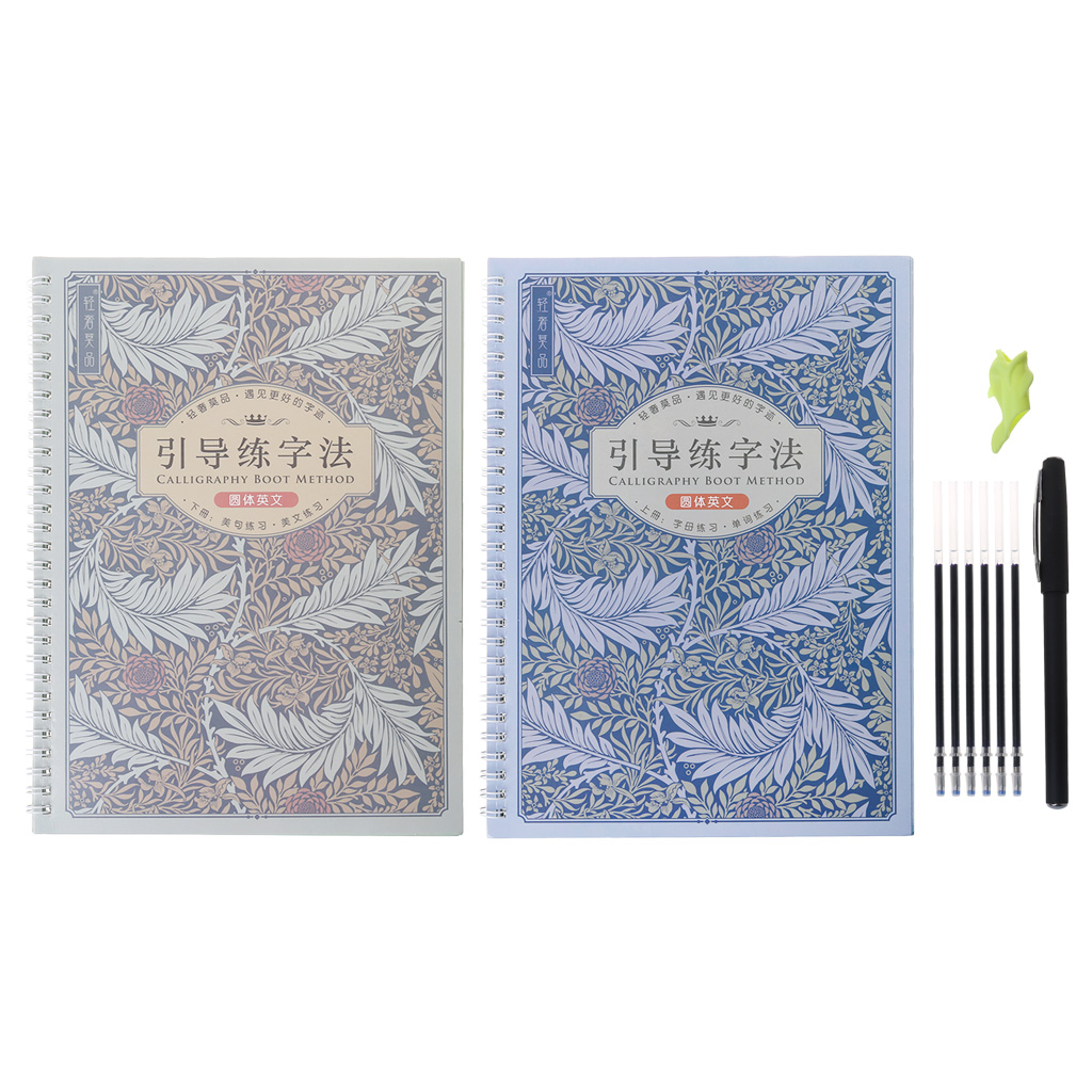 2 English Reusable Groove Calligraphy Boot Method Alphabet Words Letters Practice Copybook With Pen Refills Set For Beginners