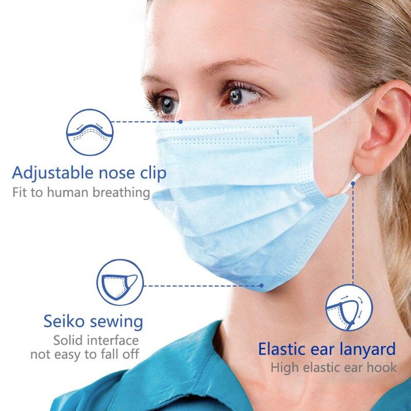 Image 5 - 5 200 Uds máscara desechable no tejida 3 capas capa filtro máscara boca máscara filtro facial seguro máscaras transpirables a prueba de polvoMascarillas   -
