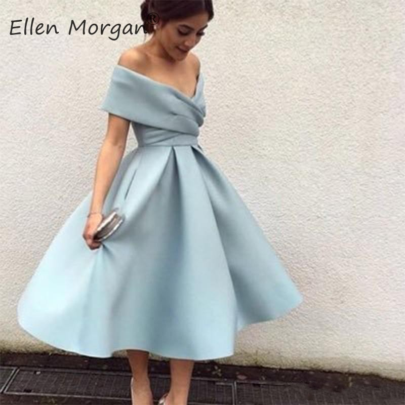 Light Blue Satin Tea Length Sexy Off The Shoulder Pleated Zipper A Line Vestidos Gala Special Occasion Cocktails Dress For Women