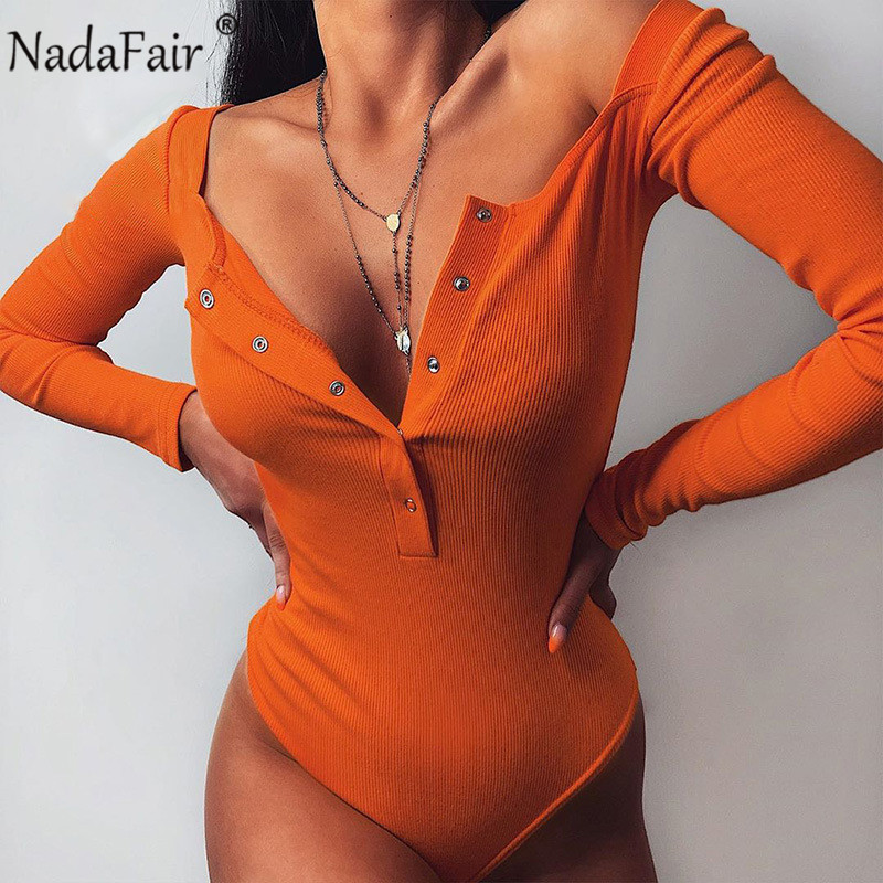 Nadafair Ribbed Knitted Women Bodysuit Sexy V Neck Buttons Skinny Casual T Shirt Solid Long Sleeve Bodysuit