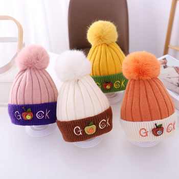 new winter baby boys girls turban hats knotted beanies caps indian children baby hat infant gift accessories Winter Warm Baby Beanies Hat Pompon Children Hats Knitted Cute Cap For Girls Boys Caps Casual Solid Color Girls Hat Kids Beanies