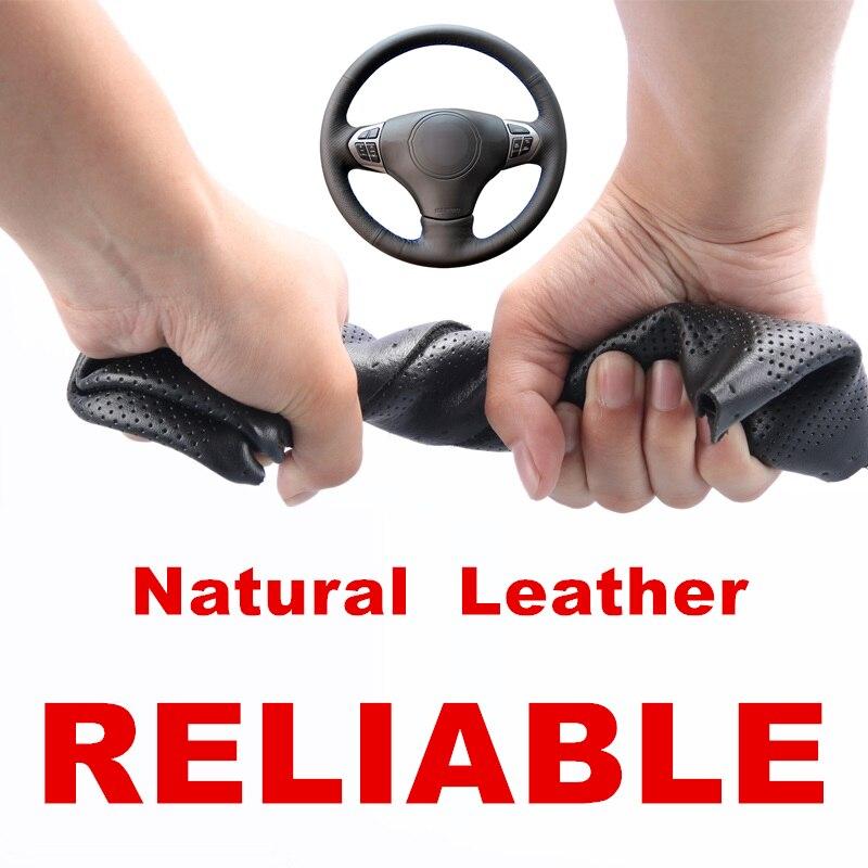 Hand sewing Black Genuine Leather Car Steering Wheel Covers Wrap for Suzuki Grand Vitara 2007 2008 2009 2010 2011 2012 2013