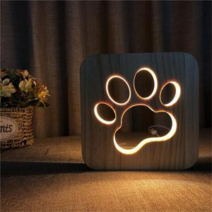 Image 3 - LED Creative USB לילה אור עץ כלב Paw וולף ראש מנורת ילדים קישוט חם אור מנורת שולחן לילדים מתנת מנורות