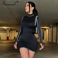 Simenual Turtleneck Long Sleeve Bodycon Mini Dresses Women Patchwork Skinny Autumn 2020 Fashion Casual Dress Hot Street Style