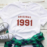 30th cumpleaños Original 1991 T camisa mujeres gráfico camisetas de algodón Tumblr manga corta Camisetas de talla grande Tops envío de la gota