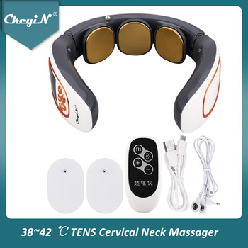 Electric Pulse Neck Massager TENS Cervical Massager Pain Relief Relaxation Therapy Shoulder Deep Tissue Massage Remote Control 1