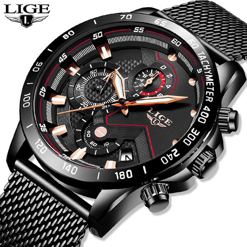 2019 New LIGE Black Casual Mesh Belt Fashion Quartz Gold Watch Mens Watches Top Brand Luxury Waterproof Clock Relogio Masculino