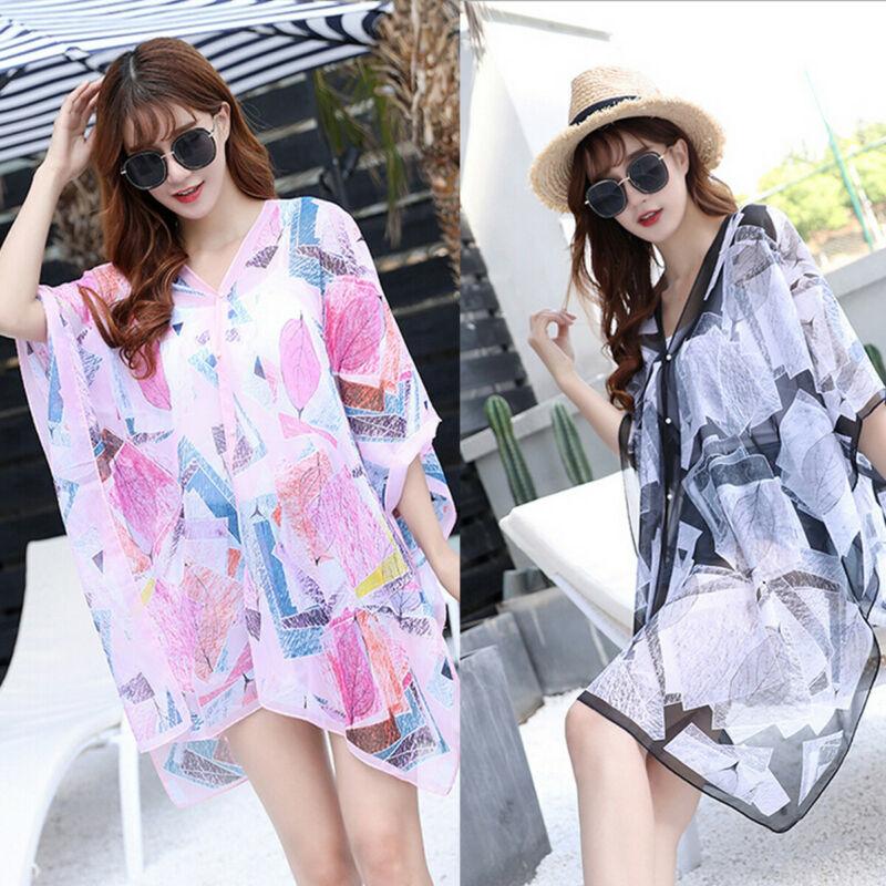 Summer Cover Up Shawl Sarong Pareo Kimono Kaftan Dress Swim Warp Beach For Women