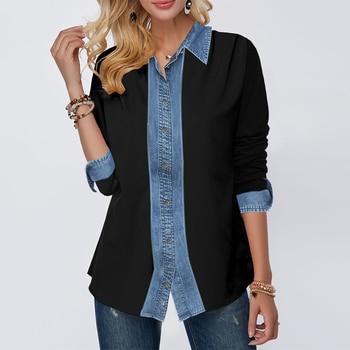 Stitching Denim Shirts Fashion Girls Long Sleeve Turn-down Collar Blouses Woman 2020 Spring New Women Jean Tops Casual Shirt D30