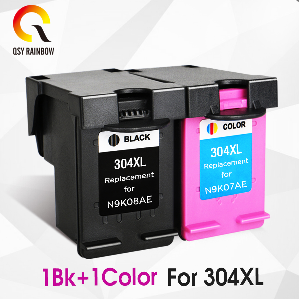 QSYRAINBOW replacement for hp304 <font><b>hp</b></font> 304 xl <font><b>Ink</b></font> <font><b>Cartridge</b></font> for deskjet envy 3720 3730 5010 <font><b>2620</b></font> 2630 5030 5032 printer 304X image