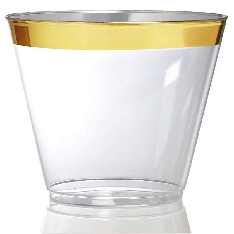 Tek kullanımlık plastik bardaklar sofra malzemeleri Bronzlaşmaya Altın Kenarlı 9oz Plastik Şeffaf Bardak Düğün Doğum Günü Partileri