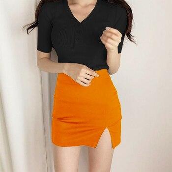 2020 Nova Chegada Feminina Moda Listrado Laranja Bandagem Saia 2020 Designer Dividir Festa Lápis Saia 40cm