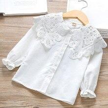White Shirt Blouses Girl Tops Lace Spring Long-Sleeve Toddler Kids Children Cotton New