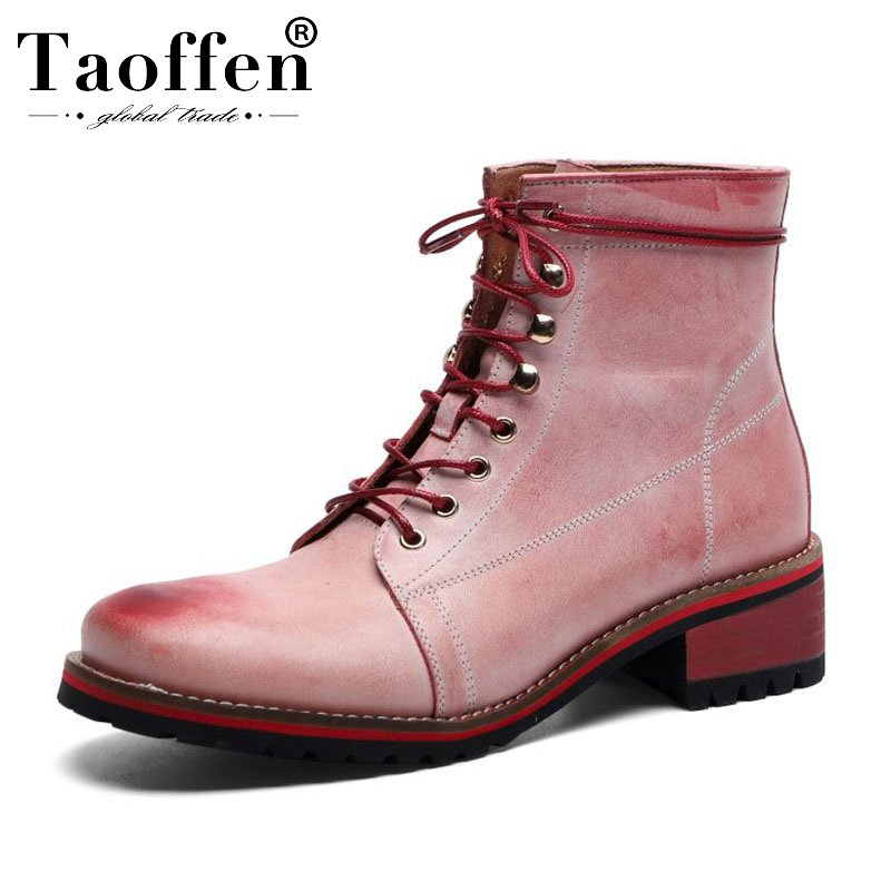 Taoffen 2020 Ins Hot Brand Ankle Boots Real Leather Flats Casual Shoes Woman Winter Outdoor Short Boots Footwear Size 34-40