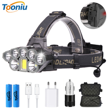 USB Rechargeable LED Headlamp Powerful 6 Light Mode T6+COB Waterproof Headlight with Tail Warning Light Using 2 18650 Batteries