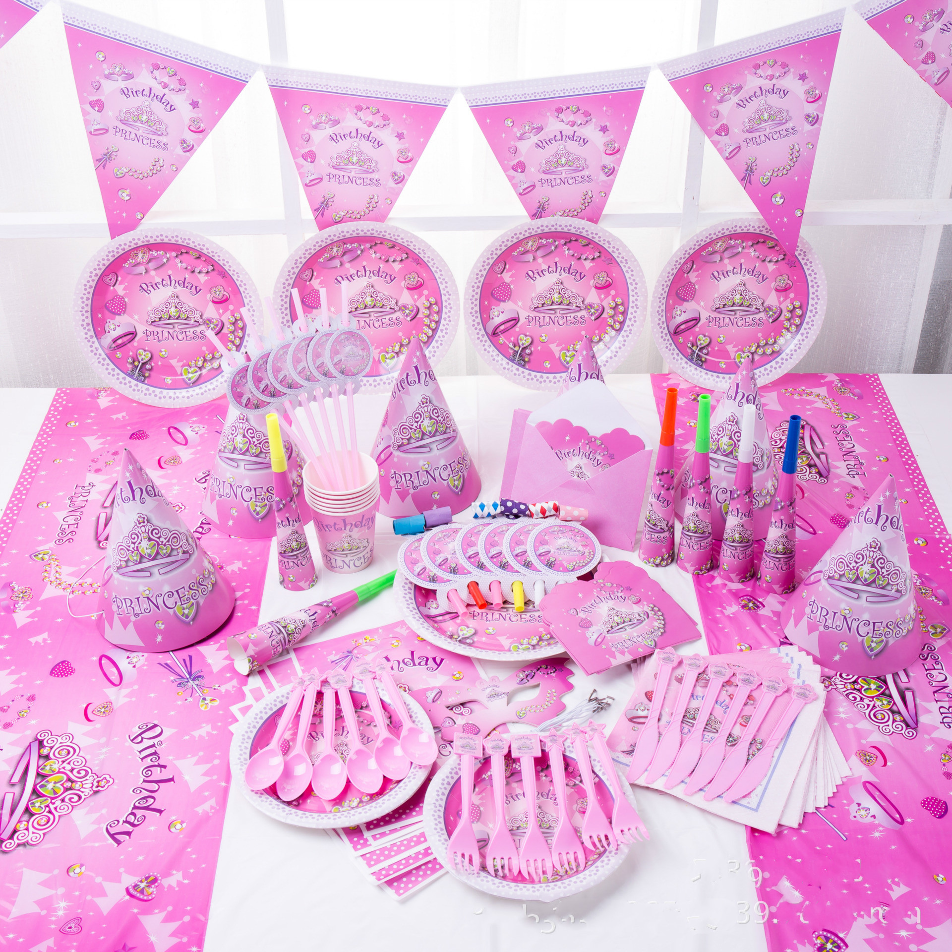 Baby Party Supplies Set For 6 People Dream Girl Theme Birthday Party Supplies Set Baby Gift Child Kids Girls Party Supplies Set