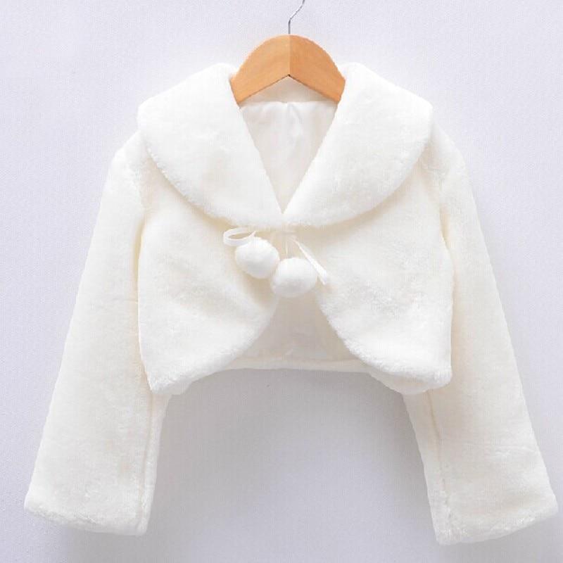 Winter Warm Kids Wrap Cloak Fur Trim Junior Cape For Girls Dress Cloth Jacket White/Ivory/Red/Black
