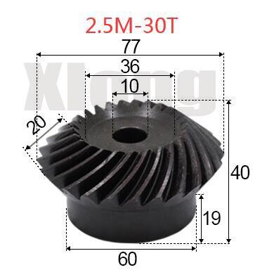 2pcs 2.5M-30Teeths Inner Hole: 10mm Precision Spiral Bevel Gear Spiral Bevel Gear фото
