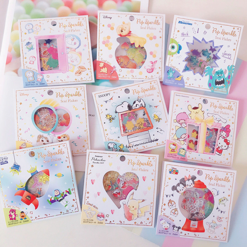 96pcs/pack Creative Hot Sale Cute Cartoon Mickey Melody Flash Stickers Scrapbooking Label Diary Album Stickers